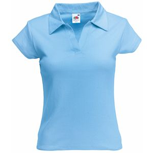Поло «Lady-Fit Rib Polo», небесно-голубой_XS, 100% х/б, 220 г/м2