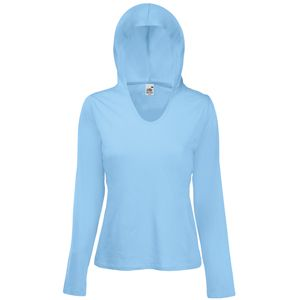 "Футболка ""Lady-Fit Lightweight Hooded T"", небесно-голубой_S, 100% х/б, 135 г/м2"
