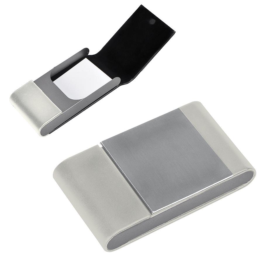 Визитница «Aluminium», белая, 10.5×6 x1.8 см, иск. кожа, алюминий