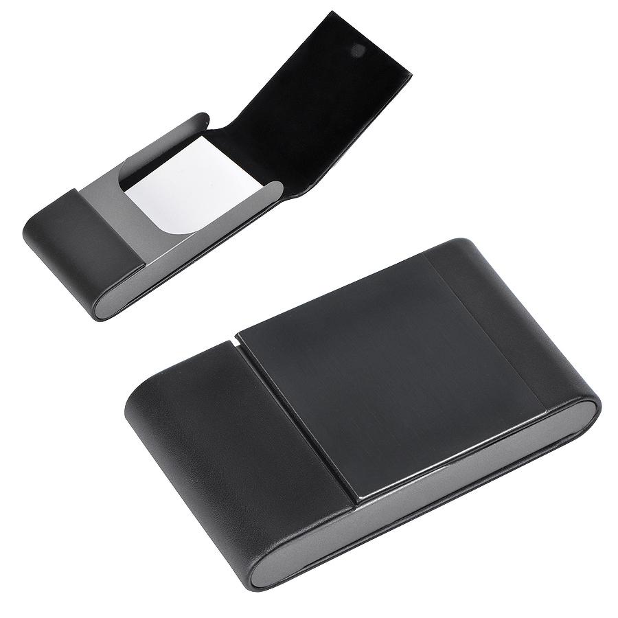Визитница «Aluminium», черная, 10.5×6 x1.8 см, иск. кожа, алюминий