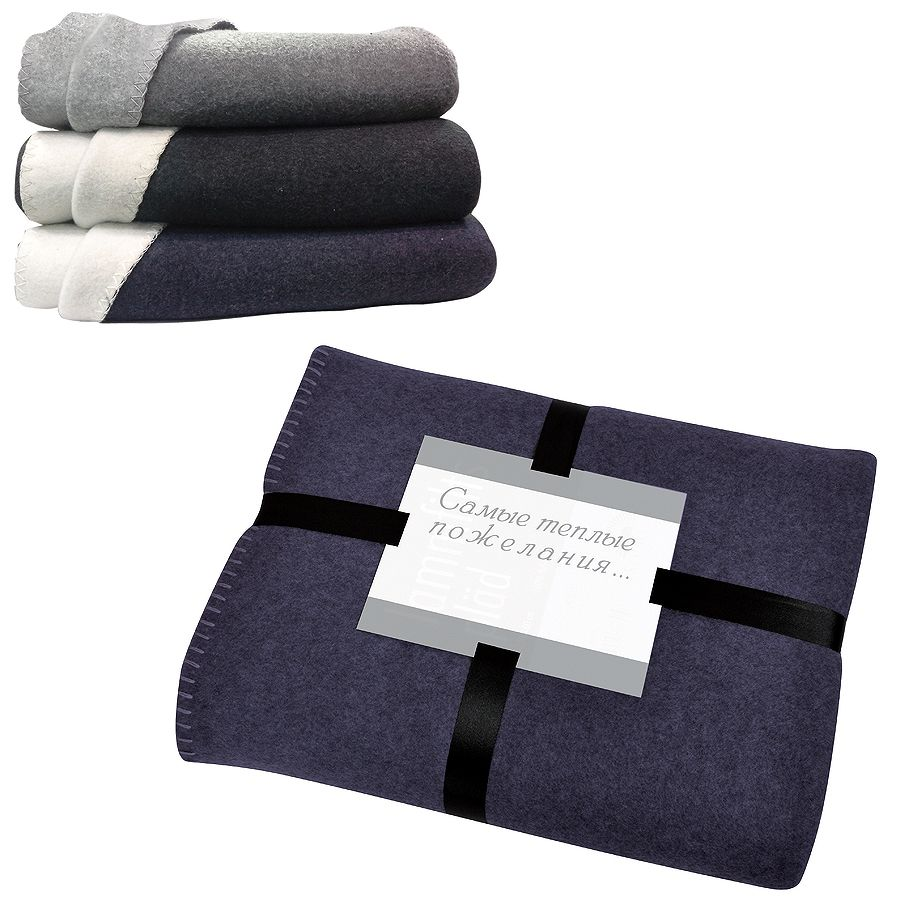 Плед «Твин» двусторонний, синий/белый,  130х150 см; 85% п/э и 15% вискоза; 350 гр  вышивка