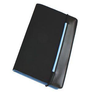 Визитница «New Style» на резинке  (60 визиток),  черный с голубым; 19,8х12х2 см; нейлон;
