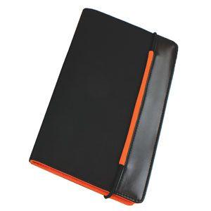 Визитница «New Style» на резинке  (60 визиток) черный с оранжевым; 19,8х12х2 см; нейлон;