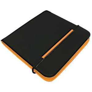 """CD-холдер """"New Style"""" 24 диска; черный/оранжевый; 15,8×15,8×1,5 см; полиэстер, микрофибра; шелкогр"""
