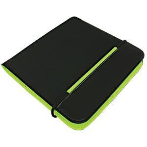 """CD-холдер """"New Style"""" 24 диска; черный/зеленый; 15,8×15,8×1,5 см; полиэстер, микрофибра; шелкография"""