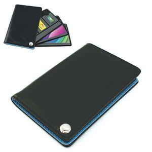 Фотография товара Футляр для пластик. карт,визиток,карт памяти и SIM-карт, черный с голубым, 7х10,3х1,2 см;иск.кожа