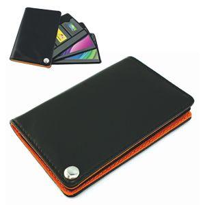 Фотография товара Футляр для пластик. карт,визиток,карт памяти и SIM-карт, черный с оранжевым, 7х10,3х1,2 см;иск.кожа