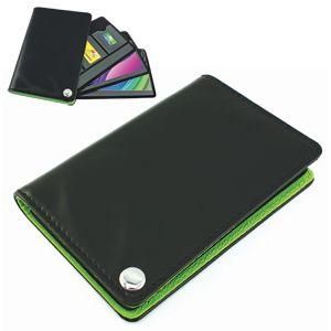Фотография товара Футляр для пластик. карт,визиток,карт памяти и SIM-карт, черный с зеленым, 7х10,3х1,2 см;иск.кожа