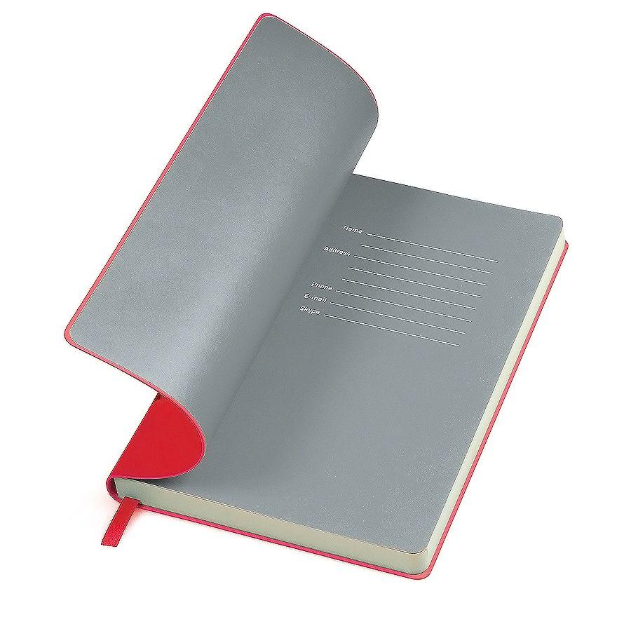 Фотография товара Бизнес-блокнот «Funky», 130*210 мм,  красный, серый форзац, мягкая обложка, блок-линейка