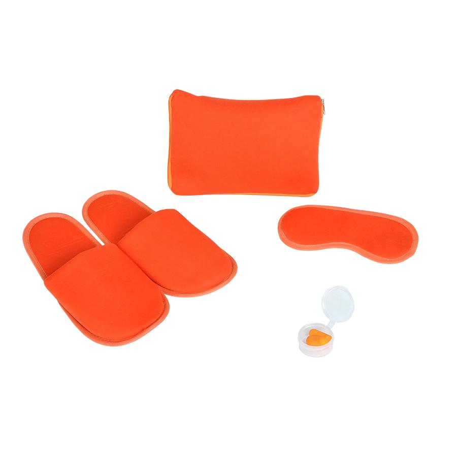 Фотография товара Набор дорожный «Релакс»: маска, беруши, тапки;  оранжевый; 20х15 см;  хлопок/нейлон