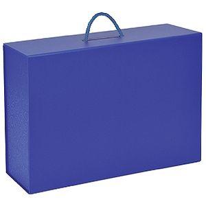 Фотография товара Коробка  складная подарочная  с ручкой,  синий, 37×25 x10cm,  кашированный картон, тисн,  шелкогр.