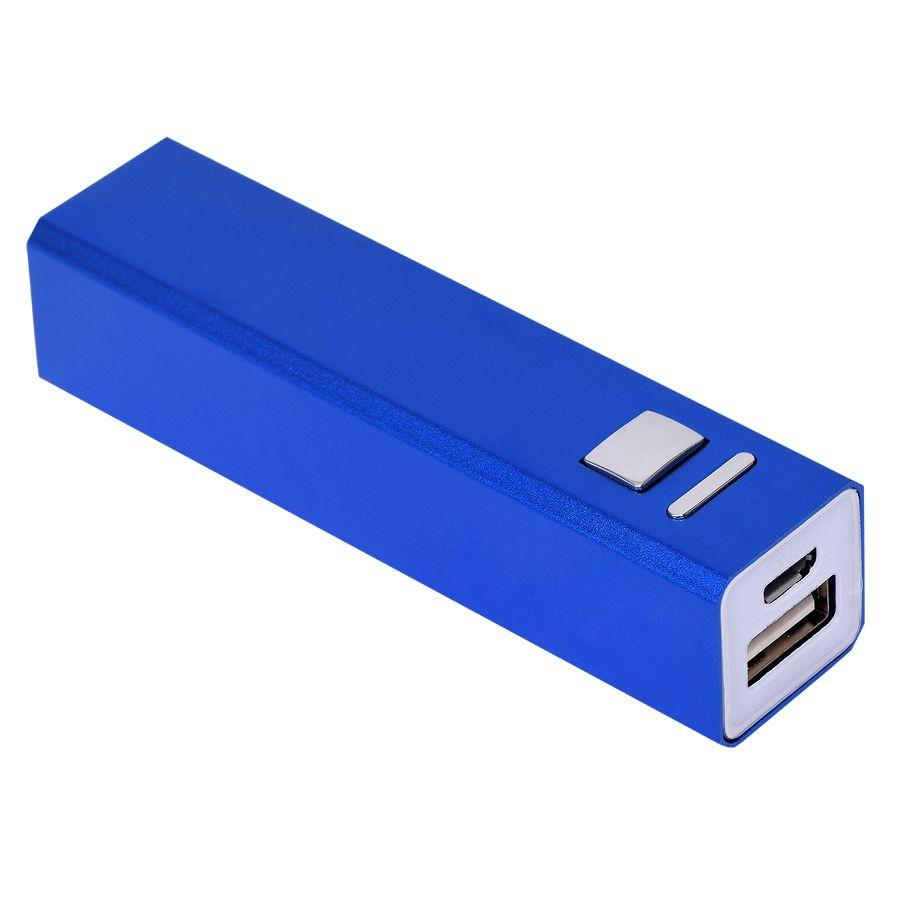 Универсальное зарядное устройство «Thazer» (2200 mAh), синий, 9,4х2,2х2,2 см, металл