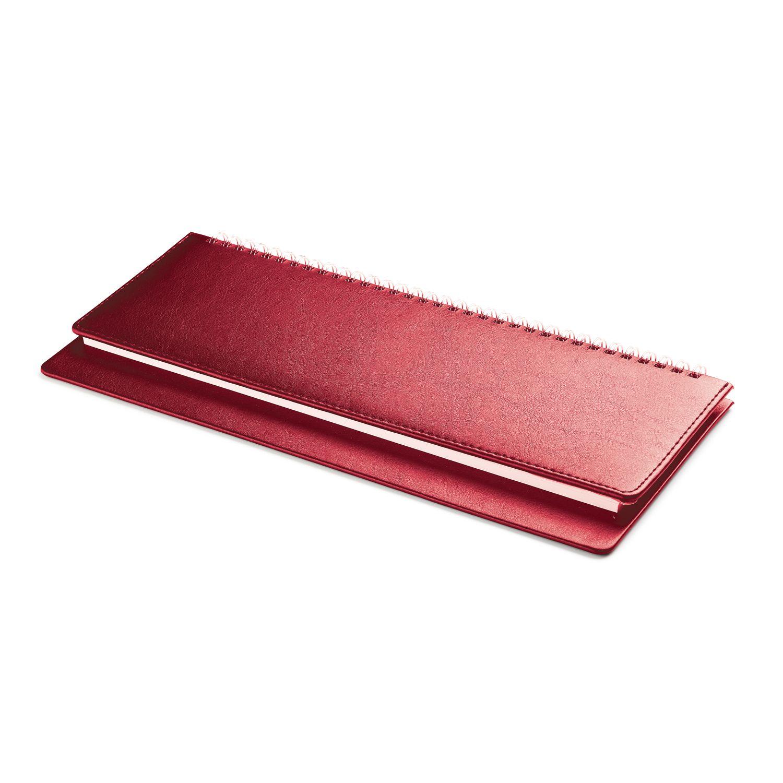 Планинг недатированный Leader, красный, 295х100 мм, белый блок, открытый гребень