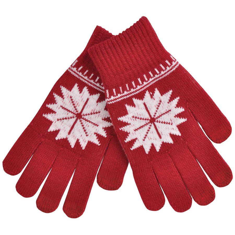 Фотография товара Перчатки для сенсорных экранов «СНЕЖИНКА»,  красный, М, акрил 40%; шерсть 30%; нейлон 30%, шеврон