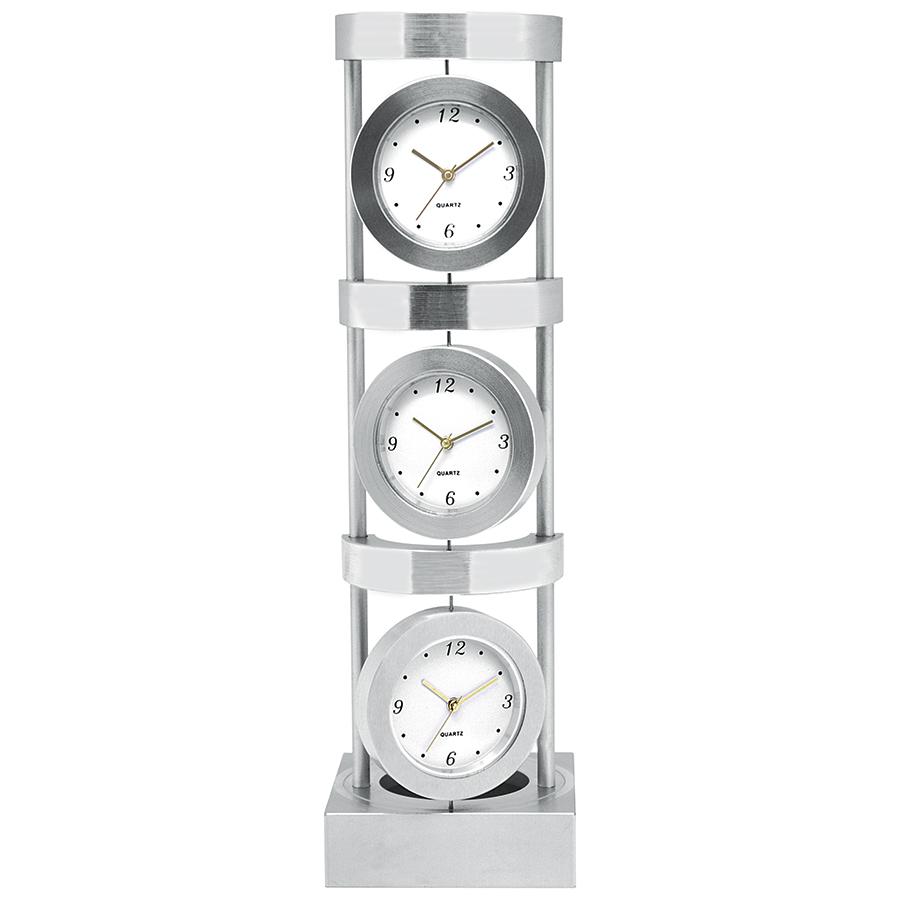 Часы настольные «Мировое время»; 22,5х6,5х6,5 см; металл; лазерная гравировка