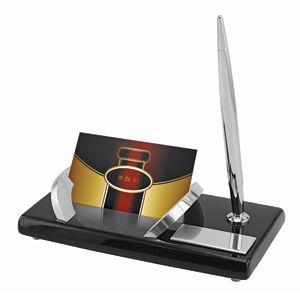 Набор настольный «Статус»: подставка для визиток и авторучка; 16,5х8,6х3,8 см; дерево, металл; шильд