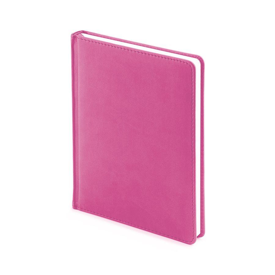 Ежедневник недатированный Velvet, А6+, розовый, белый блок, без обреза, ляссе