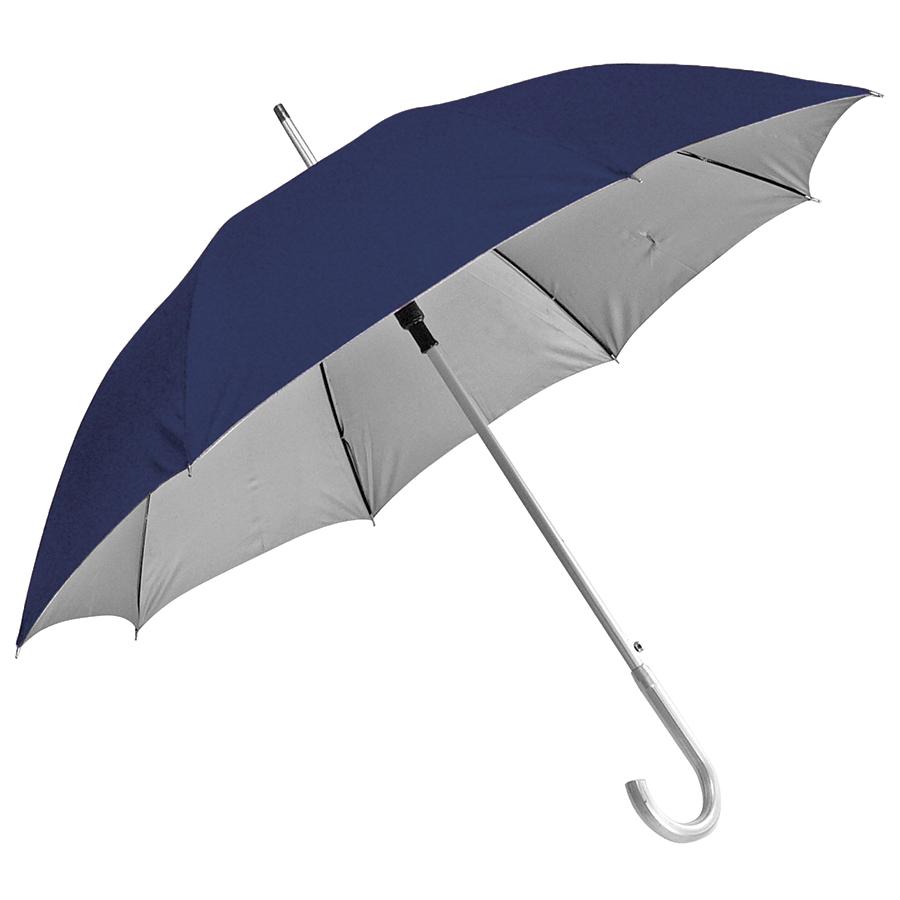 Зонт-трость с пластиковой ручкой «под алюминий» «Silver», полуавтомат; темно-синий с серебром; D=103