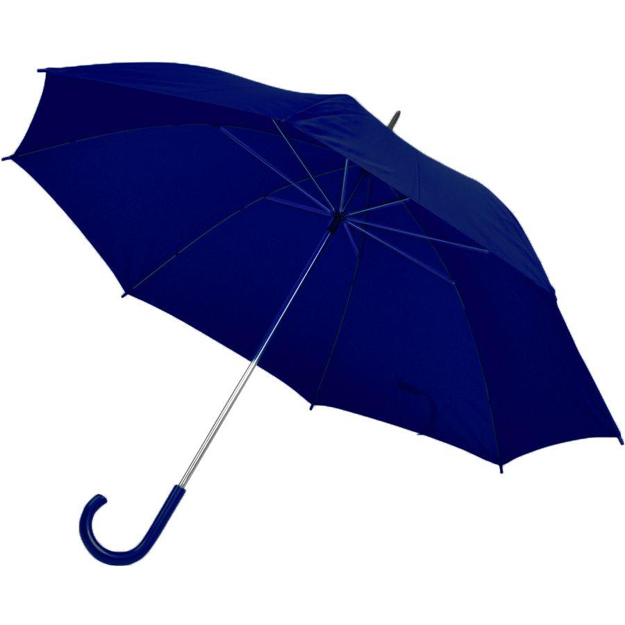 Зонт-трость с пластиковой ручкой, механический; темно-синий; D=103 см; нейлон; шелкография