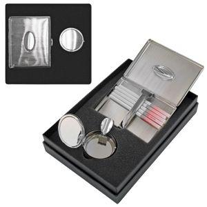 Набор: портсигар и карманная пепельница «ПЕРЕКУР» ; 19,5х13,5х5 см; металл; лазерная гравировка