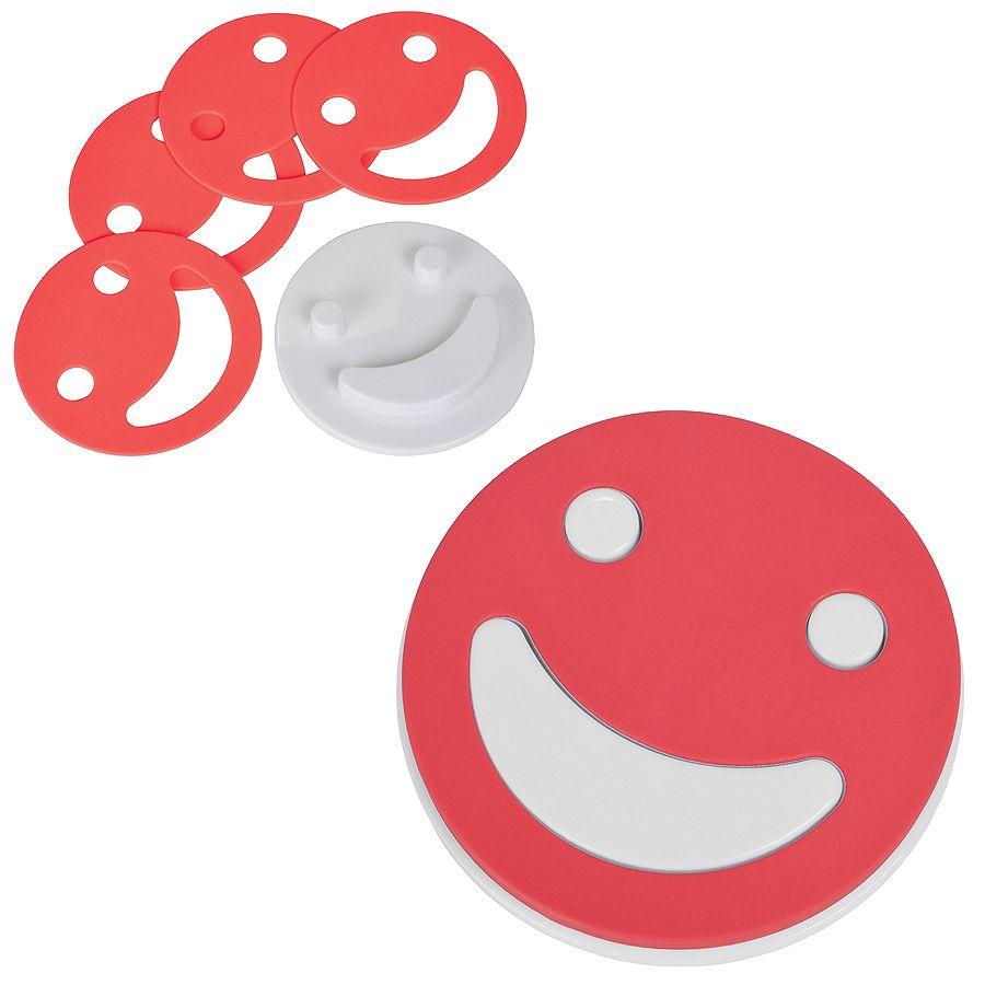 Набор подставок под кружку «Улыбнись!» (4шт.), красный, D=12,5см,Н=1,7см, пластик