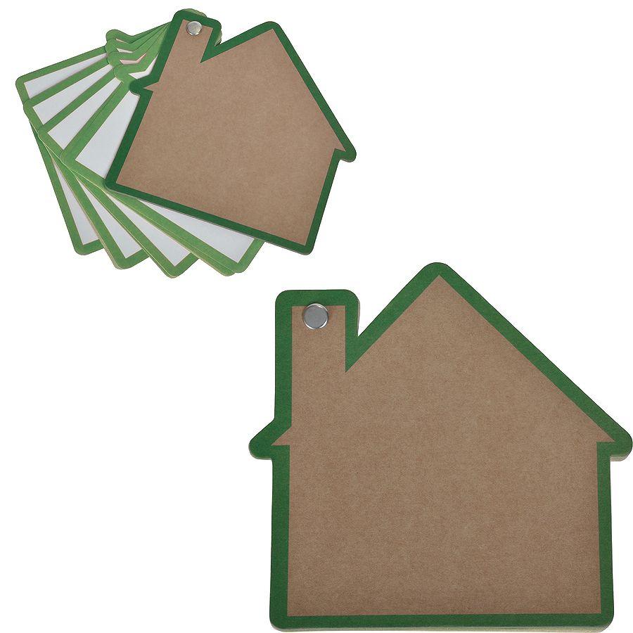 Промо-блокнот «Дом», зеленый, 13х12,5х0,9см, картон, бумага