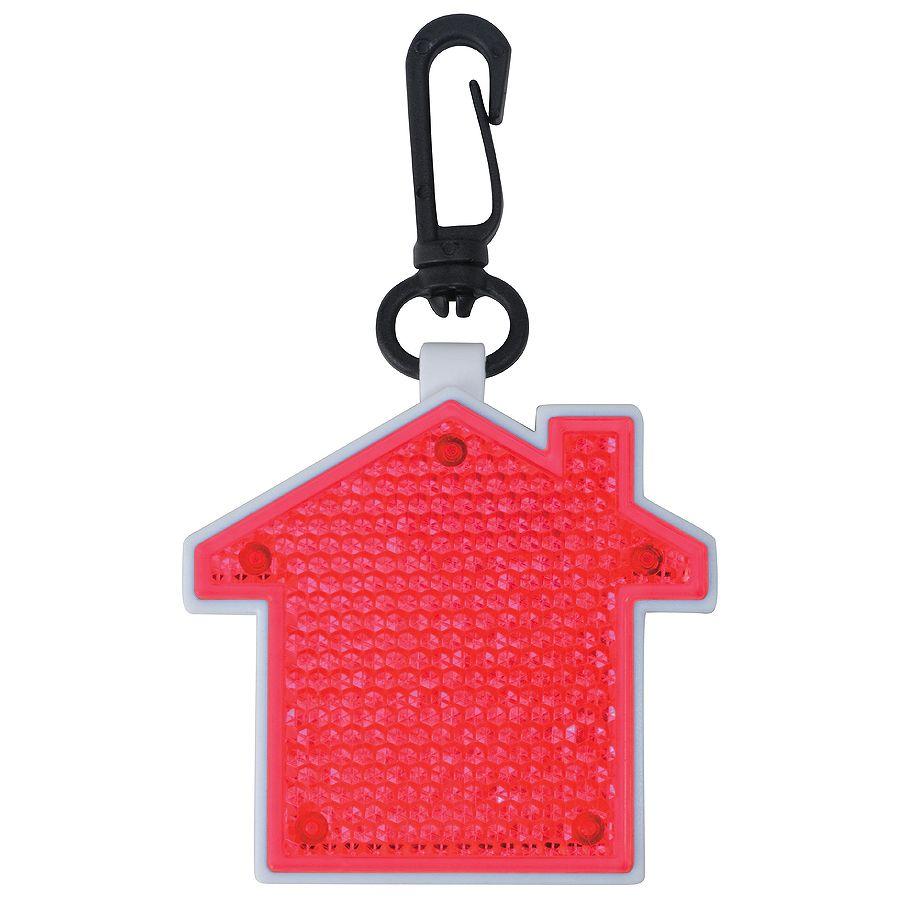 Фотография товара Светоотражатель с фонариком на карабине «Дом», красный, 5,2х5,5х1,1см, пластик