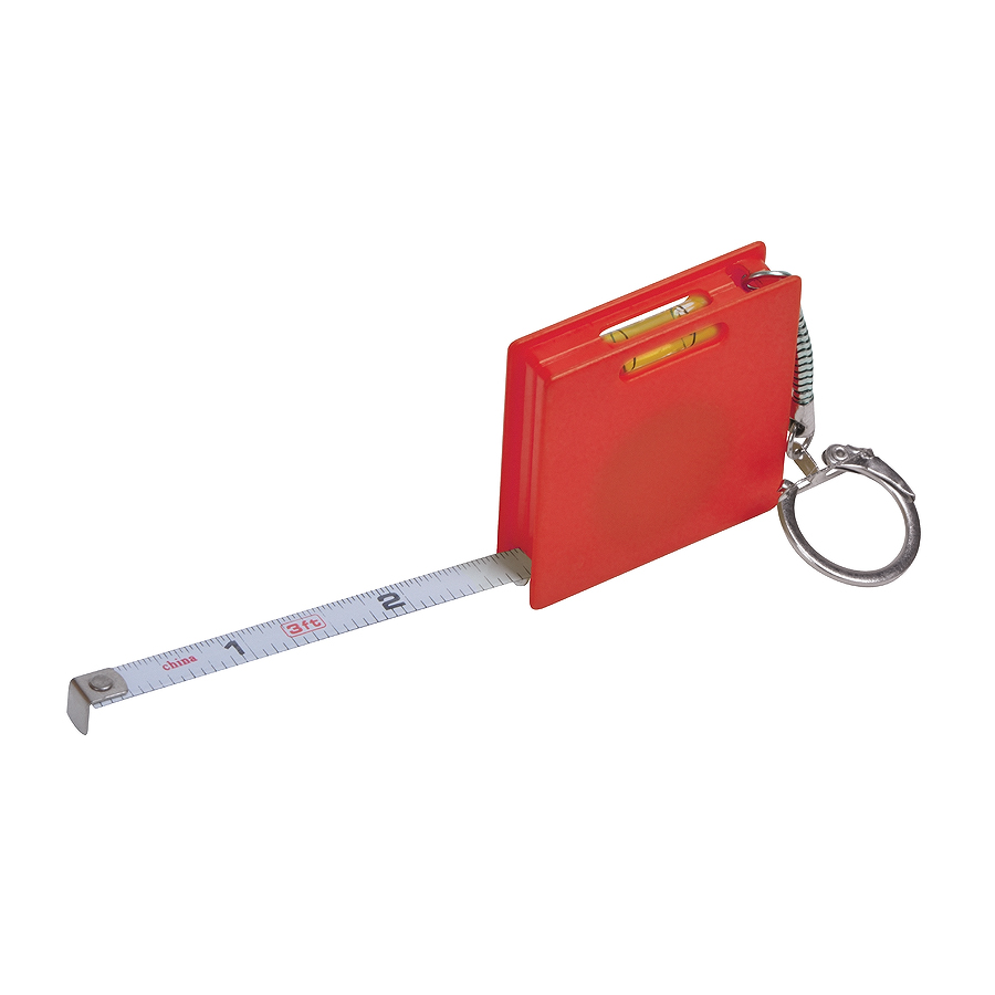 Фотография товара Брелок «Строитель» с рулеткой (1м) и уровнем, красный, 4,3х4,3х1см, пластик
