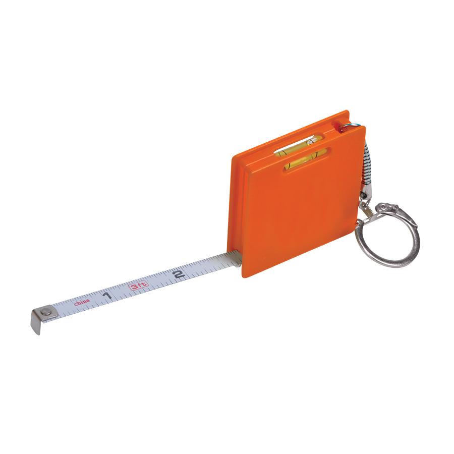 Брелок «Строитель» с рулеткой (1м) и уровнем, оранжевый, 4,3х4,3х1см, пластик