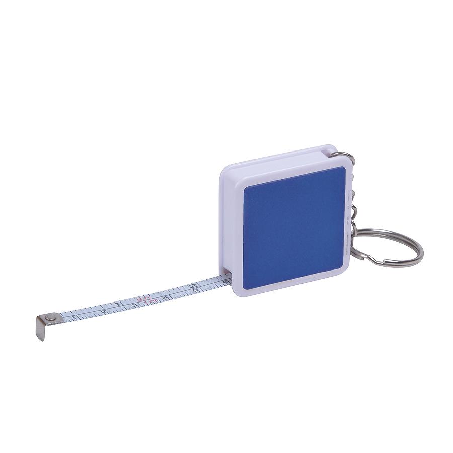 Брелок «Hit» с рулеткой (1м), синий с белым, 4х4х1см, пластик