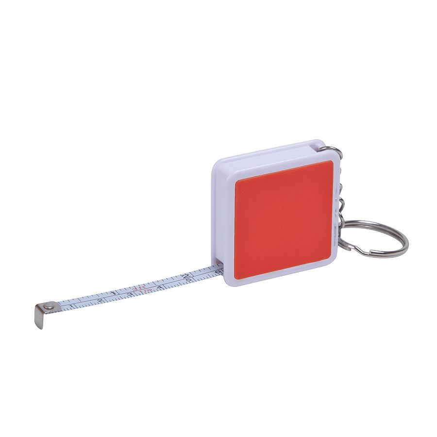 Брелок «Hit» с рулеткой (1м), красный с белым, 4х4х1см, пластик