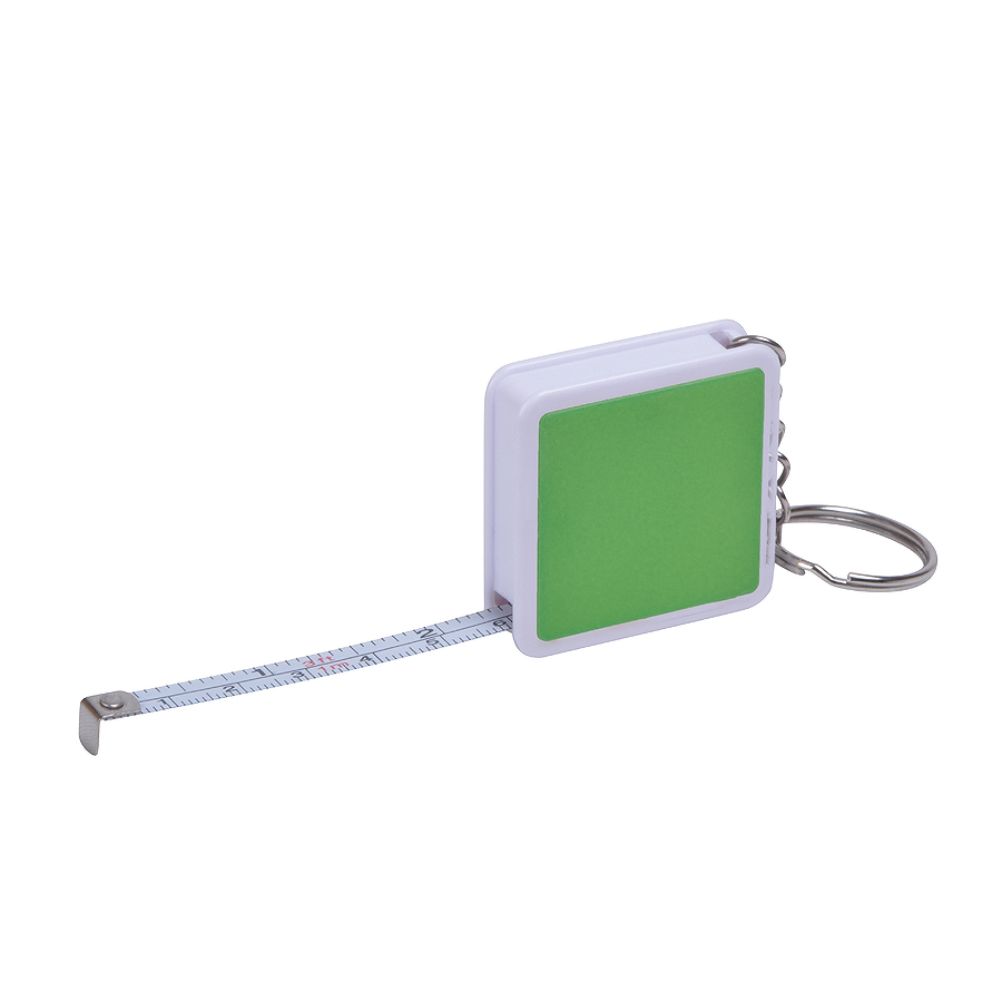 Брелок «Hit» с рулеткой (1м), зеленый с белым, 4х4х1см, пластик