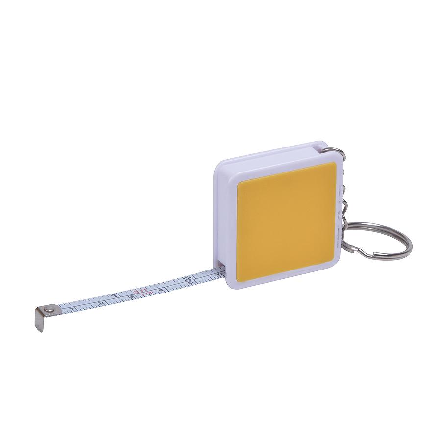 Брелок «Hit» с рулеткой (1м), желтый с белым, 4х4х1см, пластик
