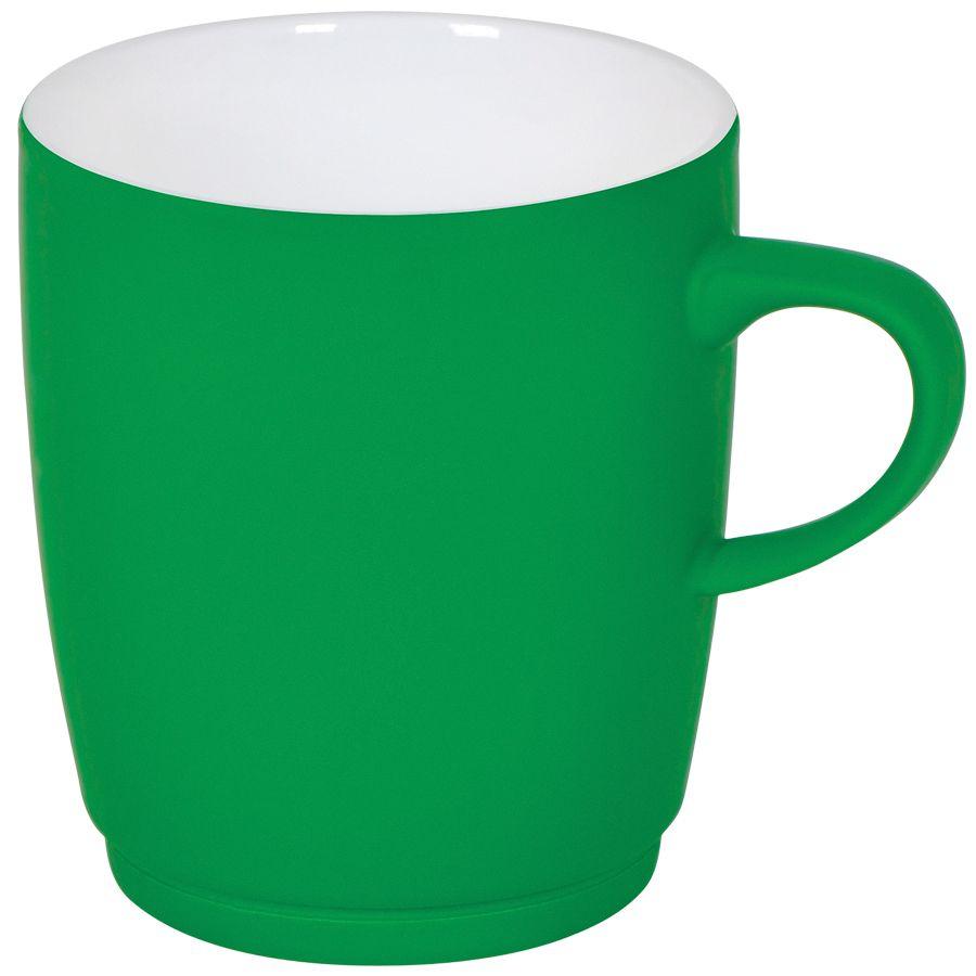 Кружка «Soft» с прорезиненным покрытием, зеленая, 350 мл, фарфор