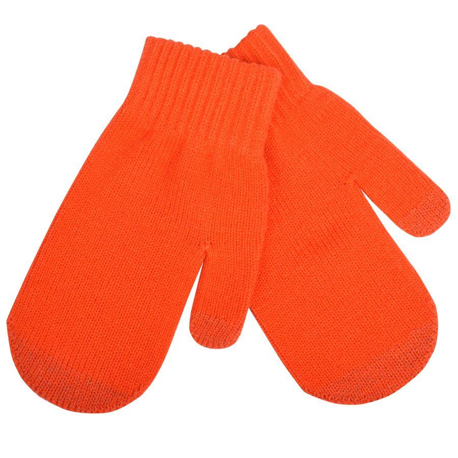 Фотография товара Варежки сенсорные «In touch»,  оранжевый, М, акрил 100%.  шеврон