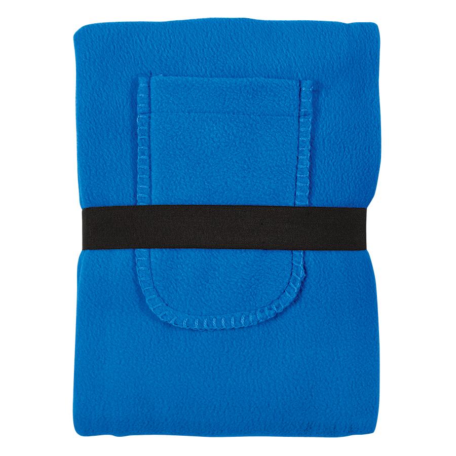 Плед «Уютный» с карманами для ног; синий, 130×150 см; флис 260 гр/м2;