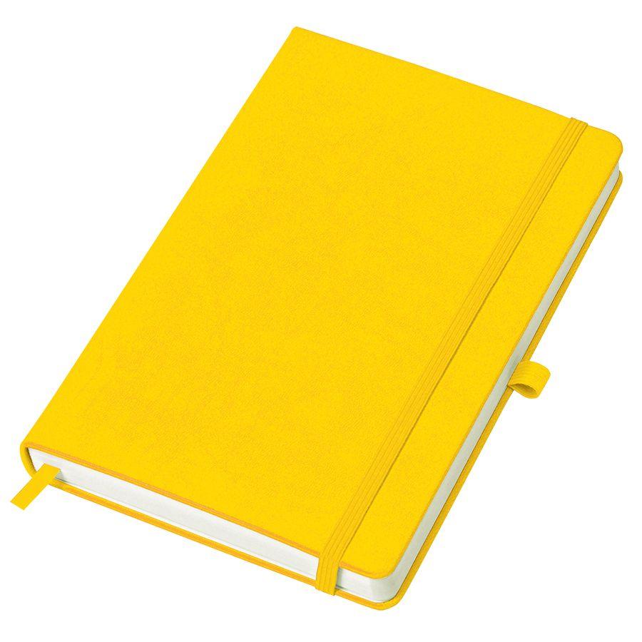 Фотография товара Бизнес-блокнот «Justy», 130*210 мм, желтый, твердая обложка,  резинка 7 мм, блок-линейка, тиснение,