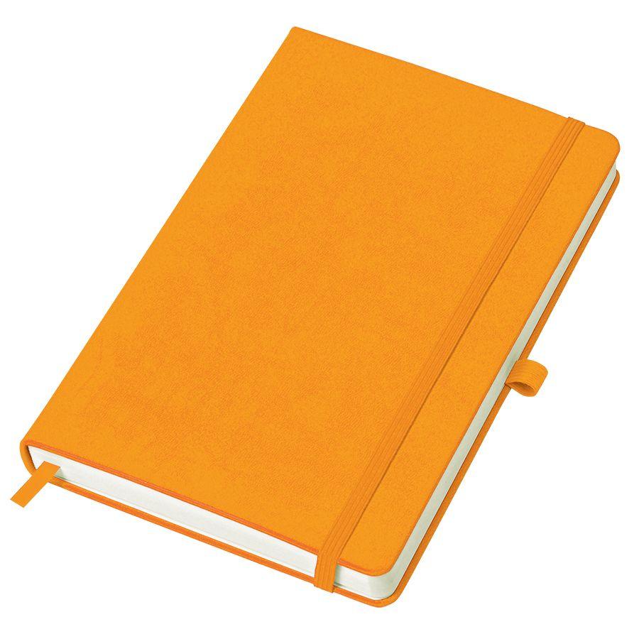 Фотография товара Бизнес-блокнот «Justy», 130*210 мм, оранжев, твердая обложка,  резинка 7 мм, блок-линейка, тиснение