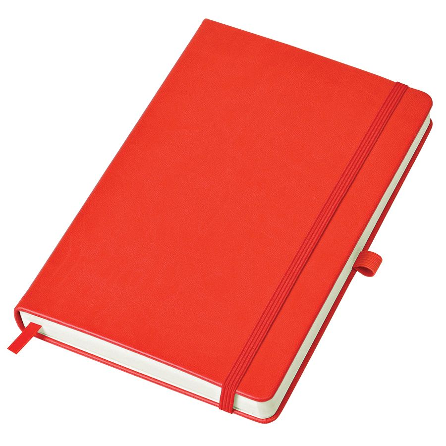 Бизнес-блокнот «Justy», 130*210 мм, красный, твердая обложка,  резинка 7 мм, блок-линейка, тиснение