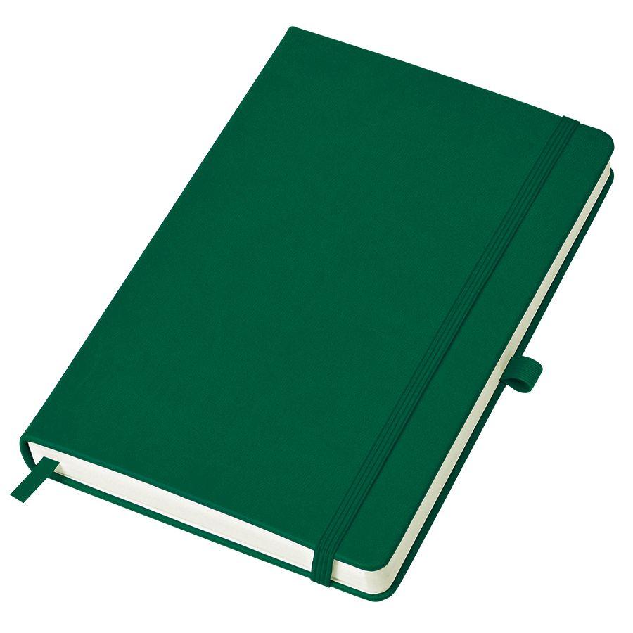 Бизнес-блокнот «Justy», 130*210 мм, зеленый, твердая обложка,  резинка 7 мм, блок-линейка, тиснение