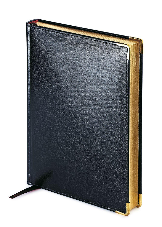 Ежедневник полудатированный Imperium, А5+, черный, бежевый блок, золотой обрез, два ляссе, карта