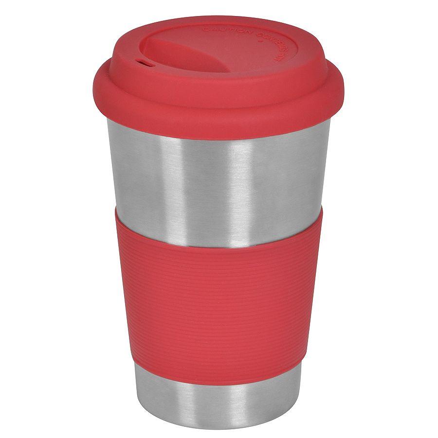 Термокружка «Утро»; 350 мл;  красный, металл/силикон; лазерная гравировка