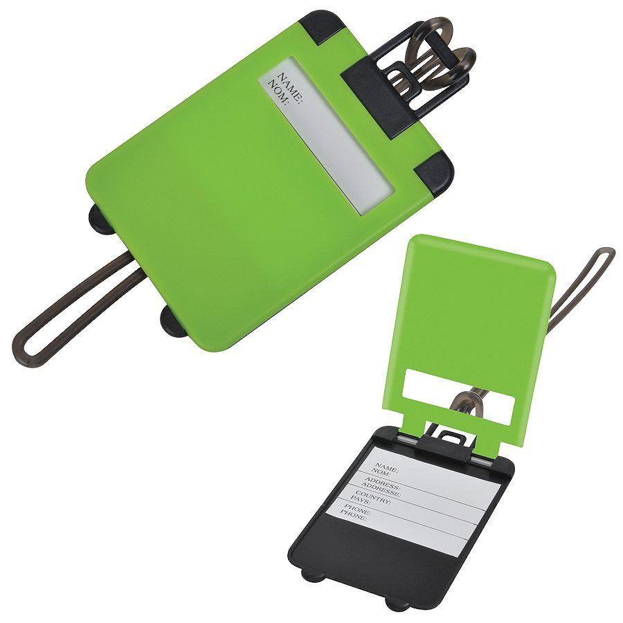 Бирка багажная «Чемодан»;  ярко-зеленый,  5.6*7.8 см; пластик; тампопечать