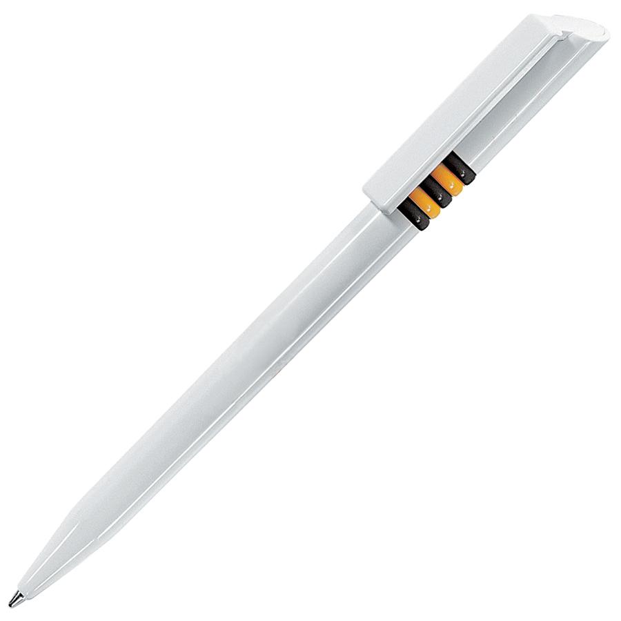 GRIFFE, ручка шариковая, белый, черные и желтые колечки, пластик
