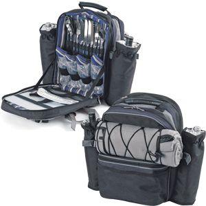 Набор для пикника на 4 персоны «ЭКСПЕДИЦИЯ» : рюкзак, термоотсек, 2 чехла для бутылок, плед, приборы