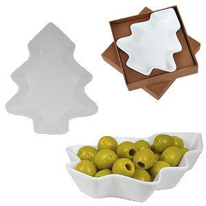 Фотография товара Тарелка для закусок «Елочка» в подарочной упаковке, 12х14,2х2,5см,фарфор