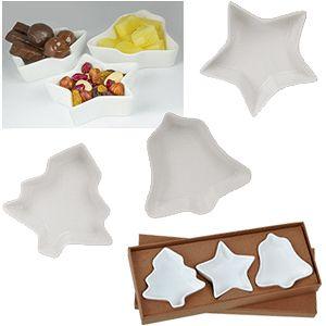 Набор тарелок «Праздничный» (3шт), 32,1х11,8х3,3см,фарфор