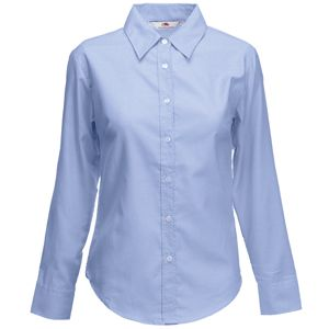 Рубашка «Lady-Fit Long Sleeve Oxford Shirt», светло-голубой_L, 70% х/б, 30% п/э, 135 г/м2