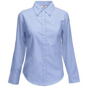 Рубашка «Lady-Fit Long Sleeve Oxford Shirt», светло-голубой_M, 70% х/б, 30% п/э, 135 г/м2