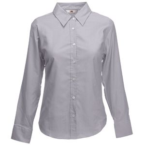 "Рубашка ""Lady-Fit Long Sleeve Oxford Shirt"", светло-серый_L, 70% х/б, 30% п/э, 135 г/м2"